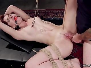 Redhead slave trainee anal fucked