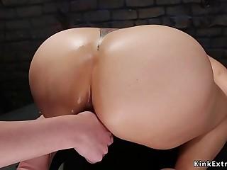 Big ballsack lesbian takes enema in restroom