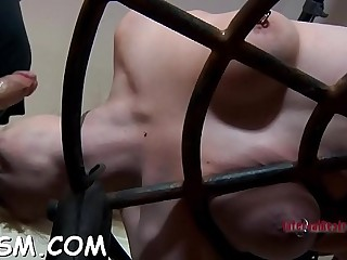 Gorgeous blonde babe in high-heeled slippers orgasm by fingering cooter