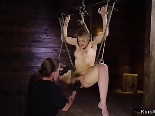 Gorgeous sub hog tied and ass whipped