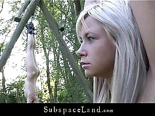 Fresh blonde teens restrained for outdoor restrain bondage punish