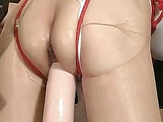 Monster fake penis fucked submissive slave