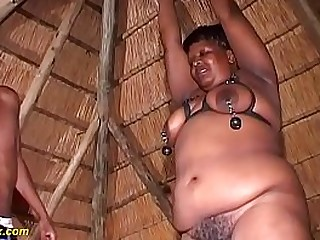 extreme big bbw african hairy milf enjoys her first tied and whipping fetish lesson
