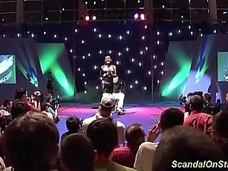 big boob bdsm mummy likes a real extreme needle fetish show on public sexfair show stage