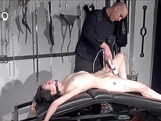 Gagged amateur gimps sextoy domination and slapped blowjob of whipped submissiv