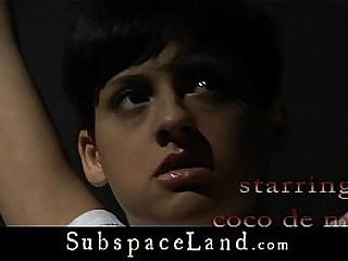 Black-haired slave girl hard shakened in the basement