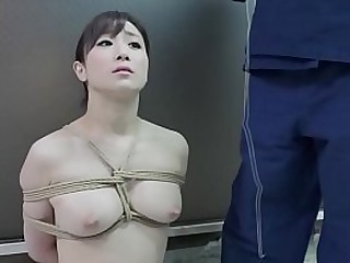 BDSM JAV stark naked Yuu Kawakami sits properly for pervy nose hook play and rope binding along with a twisted blowjob in HD with English subtitles