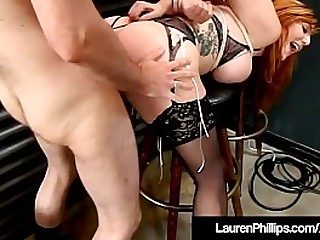 Busty Ginger Bush Lauren Phillips gets herself in a bind, literally, as she is tied up, punished & made to suck a fat cock that dives inside her fire crotched pussy as well! Scorching bondage clip!