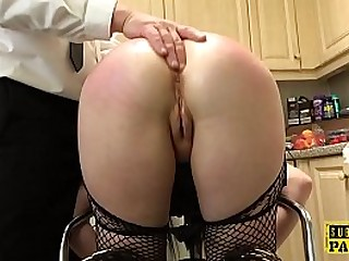 Assfucked british gimp swallows maledom cum