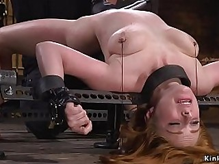 Hot natural busty blonde sub getting pussy tormented and toyed in various positions in basement