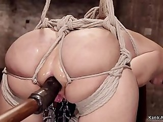 Huge tits redhead Milf slave bent over gets pink hole toyed