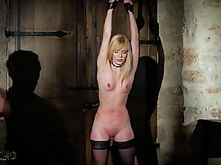 Lusty blonde is punished in BDSM and gives strong butt-cheeks then swallows cum