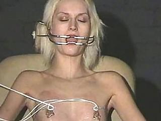 Extraordinary needle tortures and hardcore Sadism & Masochism of blonde slavegirl in severe nipple