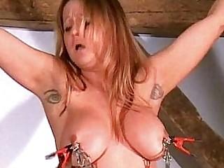 Busty tit torments of tied mummy Gina in extreme bdsm and nipple clamped punishme