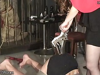 Japanese mistress inserts cusco speculum into slave anal and spreads it