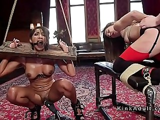 Two babes in extreme bondage pummeled