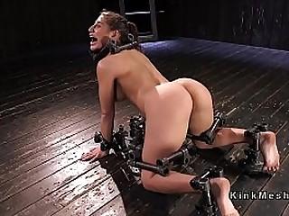 Buxomy slave suffers extreme device bondage