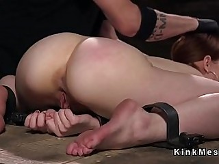 Skinny victim suffers extreme restrain bondage device torture and pussy toys