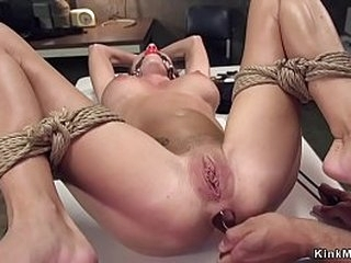 Thick cock officer fucks throat to busty black-haired tourist then fucks her beaver and tight anus in bondage in prison cell