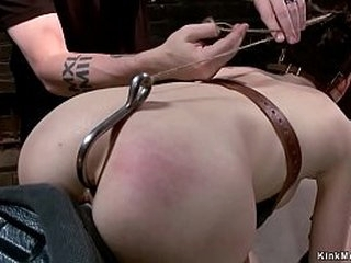 Hairy pussy shaped victim Lily LaBeau in strappado gets pussy vibrated then set on Sybian saddle in bullwhip bondage gets ass hookedby tormentor The Pope