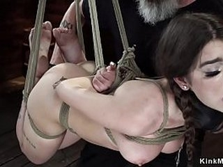 Blindfolded brunette slave Joseline Kelly in standing stretched bondage gets vibrated then in hogtie horizontal suspension vibrated too