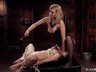 Black lesbian cutie gets flogged and fingerblasted in rope bondage