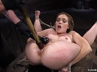 Warm petite blonde slave in glasses Katie Kush in suspension gets pussy vibrated then in rope bondage fucked with faux-cock on a stick by sir The Pope on hogtie