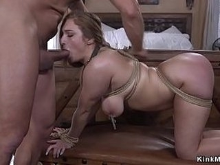 Huge knockers brunette slave anal invasion fucked in bedroom by huge dick master
