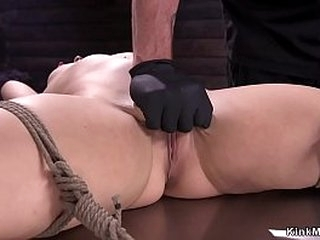 Gagged warm brunette in strict rope restrain bondage getas pussy rubbed