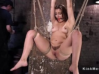 Gagged brunette sub in rope bondage gets pussy rubbed and fingered