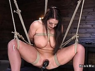 brunette sub in rope restrain bondage suspension gets her pussy toyed and vibed