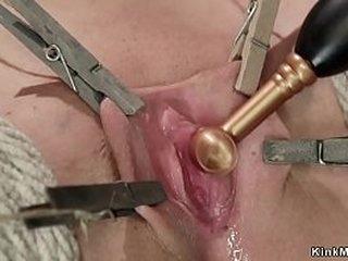 Redhead slave in extreme bondage got cunt stimulated
