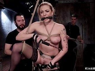 Hot blonde sub in standing bondage gets hard caned