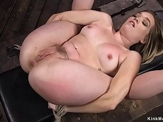 All inborn blonde slave sweetie in full split suspension gets pussy fingered then in suspension pussy rubbed with nipples clamped on hogtie