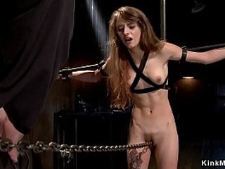 Ball-gagged brunette slave set with all weight on her hairy pussy on metal pipe and gets whipped by master then run chain through crotch