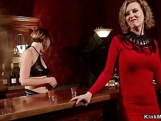 Kinky lesbian seduces straight bartender then in bondage makes her get finger and rimming