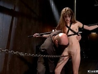 Furry pussy skinny brunette slave is tormented by master and gagged and ass flogged and pussy vibrated in tool bondage dungeon