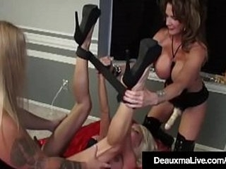 Well hung Cougar Deauxma has a femdom side as she plows milf Kasey Storm with her big fake cock! Tommy Gunn helps Deauxma with his big dick, fucking Kasey's bound Box, together!
