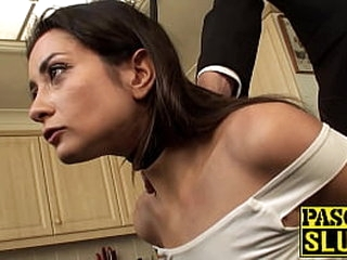 Pretty whore assfucked while confined