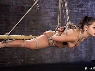 Hot gagged deep-throaters babe gets pussy rubbed then in suspension