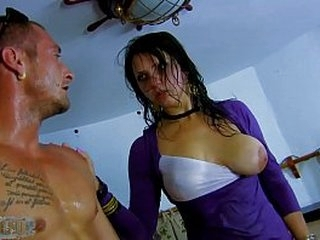 Obedient slut doll fucked with everything this superb guy can find around him