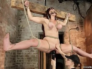 Lesbian dominatrix Claire Adams bound hot busty redhead sapphic Bella Rossi and in different suspensions vibrated and toyed her pussy on frog-tie