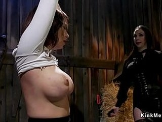 Tied up brunette lesbo babe gets caned and lashed