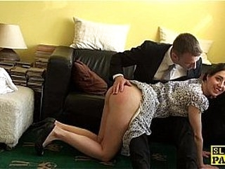 English victim cockriding after getting spanked