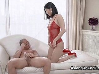 Submissive Asian girlfriend fucks on leash