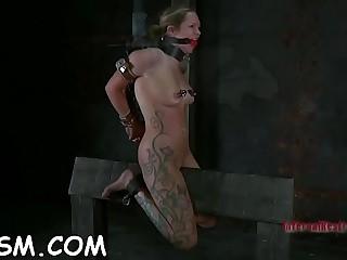 Charming blonde babe gobbles down a big pole