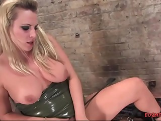 Sexy babe with big tits enjoying hardcore bondage