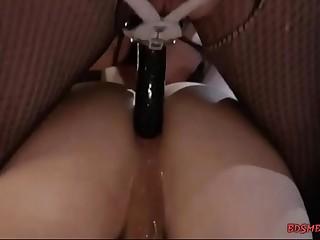 Lusty mistress pegging her slave boy