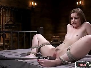 Gorgeous BDSM babe machine drilled
