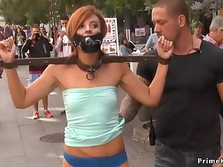 Blindfolded slave disgraced in public